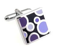Purple on Black Enamel Dot Design Cufflinks (V-CF-E700184PR)