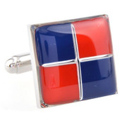 Red & Blue Enamel Checkered Cufflinks (V-CF-E52570)