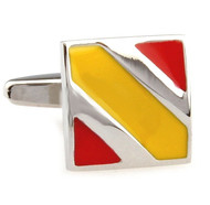 Red & Yellow Stripe Enamel Square Cufflinks (V-CF-E50477-S)