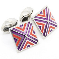 Small Enameled Purple and Red Pyramid Cufflinks (V-CF-M52000PR)