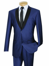 Vinci Sheened Navy Contrasting Notched Shawl Collar Suit - Slim Fit