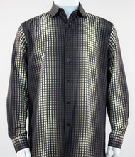 Outlet Center: Bassiri Brown Box & Faded Stripe Design Long Sleeve Camp Shirt