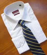Carreli 2 Ply 100% Cotton Stripe Dress Shirt - Regular Cuff