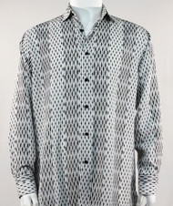Bassiri  White and Black Abstract Stripe & Line Design Long Sleeve Camp Shirt