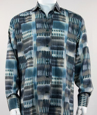 Bassiri Turquoise Abstract Block Pattern Long Sleeve Camp Shirt
