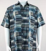 Bassiri Turquoise Abstract Block Pattern Short Sleeve Camp Shirt