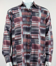 Bassiri Red & Black Abstract Block Pattern Long Sleeve Camp Shirt