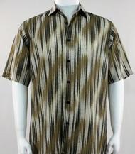 Bassiri Tan & Cream Faded Diagonal Pattern Short Sleeve Camp Shirt