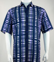 Bassiri Blue and Purple Modern Linear Design Short Sleeve Camp Shirt