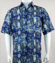 Bassiri Blue Baroque Pattern Short Sleeve Camp Shirt