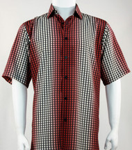Bassiri Red Grid and Line Pattern Short Sleeve Camp Shirt