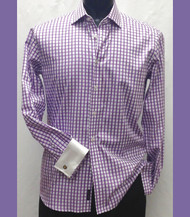 Antonio Martini Contrasting French Cuff 100% Cotton Shirt - Purple Check