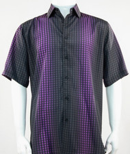 Bassiri Black and Purple Grid and Line Pattern Short Sleeve Camp Shirt