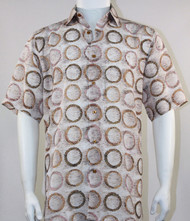 Bassiri Tan Circle Design Short Sleeve Camp Shirt