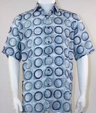 Bassiri Blue Circle Design Short Sleeve Camp Shirt