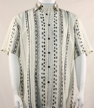 Bassiri Lines and Squares on Cream Short Sleeve Camp Shirt