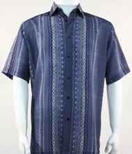 Bassiri Lines and Squares on Blue Short Sleeve Camp Shirt