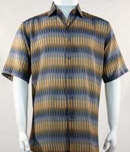 Bassiri Gold Broken Line Pattern Short Sleeve Camp Shirt