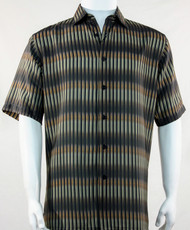 Bassiri Olive Broken Line Pattern Short Sleeve Camp Shirt