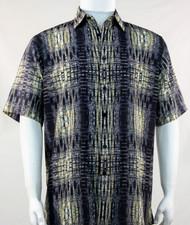 Bassiri Yellow & Dark Grey Tribal Print Short Sleeve Camp Shirt