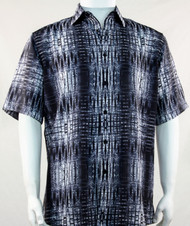 Bassiri Dark Grey Tribal Print Short Sleeve Camp Shirt