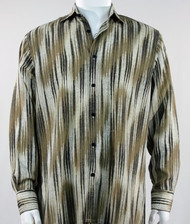 Bassiri Tan & Cream Faded Diagonal Pattern Long Sleeve Camp Shirt