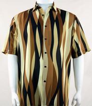Bassiri Tan Mod Streamer Design Short Sleeve Camp Shirt