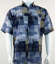 Bassiri Blue Mod Square Design Short Sleeve Camp Shirt