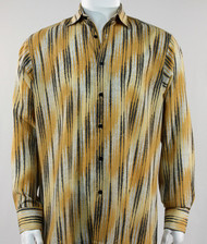Bassiri Gold Faded Diagonal Pattern Long Sleeve Camp Shirt