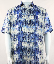 Bassiri Abstract Blue Mesh Design Short Sleeve Camp Shirt