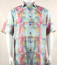 Bassiri Abstract Aqua & Pink Mesh Design Short Sleeve Camp Shirt