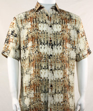 Bassiri Abstract Tan Mesh Design Short Sleeve Camp Shirt