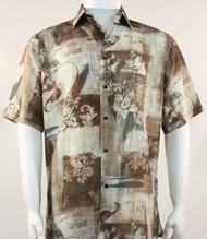 Bassiri Tan Floral Motif Short Sleeve Camp Shirt