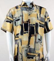 Bassiri Yellow and Black Abstract Print Short Sleeve Camp Shirt