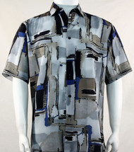 Bassiri Blue and Black Abstract Print Short Sleeve Camp Shirt