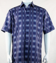 Bassiri Blue Baroque Line Design Short Sleeve Camp Shirt