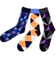 Parquet Men's Stylish Socks in Geometric Patterns - 3 Pairs