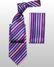 Outlet Center: Antonio Ricci 100% Silk Woven Tie - Purple Diagonal Stripes