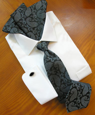 Antonio Ricci 100% Silk Woven Tie - Slate Grey Paisleys