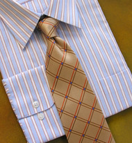 Antonio Ricci 100% Silk Woven Tie - Tan Diamond Pattern
