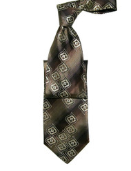 Antonio Ricci 100% Silk Woven Tie - Brown Abstract Pattern