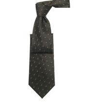 Antonio Ricci 100% Silk Woven Tie - Brown Dash Pattern