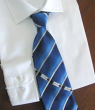 Antonio Ricci 100% Printed Silk Tie - Blue Stripe