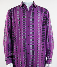 Bassiri Purple & Black Modern Linear Design Long Sleeve Camp Shirt