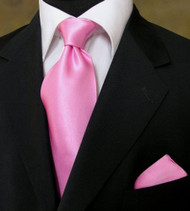 Outlet Center: Antonio Ricci 100% Satin Silk Tie with Pocket Square - Bright Pink