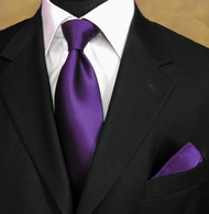Outlet Center: Luciano Ferretti 100% Woven Silk Necktie with Pocket Square - Deep Purple