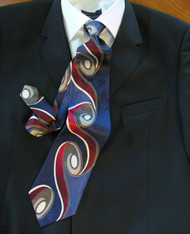 Outlet Center: Enrico Rossini 100% Printed Silk Italian Tie - Blue Art Nouveau Swirl Design