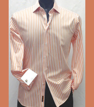 Outlet Center: Antonio Martini Contrasting French Cuff 100% Cotton Shirt - Orange Stripe