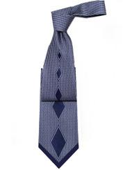Pantani 100% Silk Woven Tie - Blue Diamonds and Tip