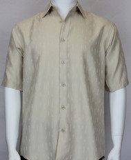 Outlet Center: Bassiri Solid  Champagne Tone with Line Pattern Short Sleeve Camp Shirt